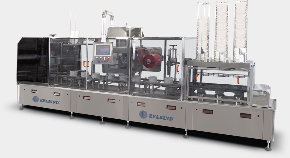 LA2-250: Automatic thermosealing machine for the packaging of buckets or industrial size trays, sealed with plastic film.